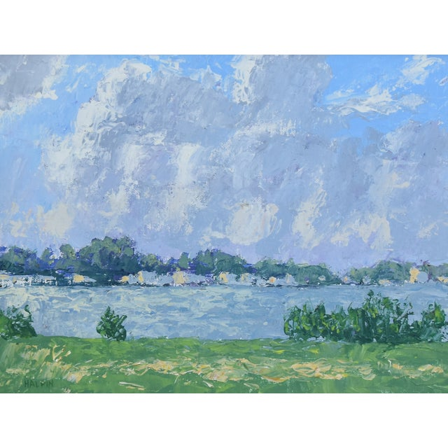f994d87737ee Abstract Impressionist Plein Air Lake   Sky Painting W  Gold Leaf Frame For  Sale -