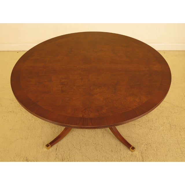 Hollywood Regency Burl Walnut Round Dining Room Extension Table For Sale - Image 3 of 13