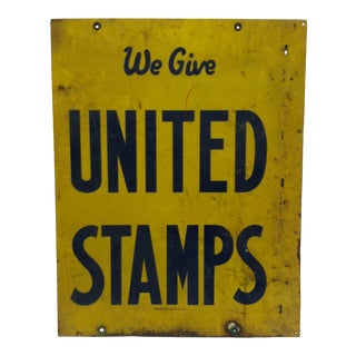 1960s Vintage United Stamps Sign For Sale