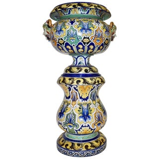 Montagnon 1880s French Blue, Yellow, Green Majolica 2 Pc. Jardinière on Stand For Sale