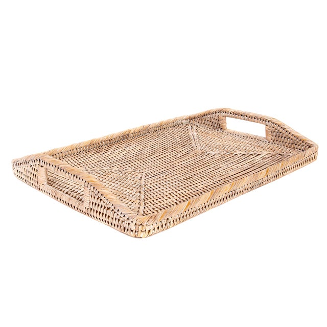 Artifacts Rattan Rectangular Tray With High Handles For Sale