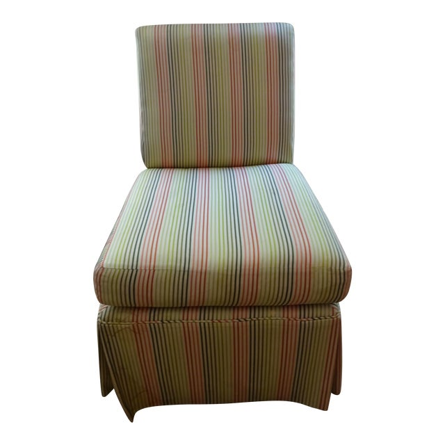 Stripped High Back Slipper Chair - Image 1 of 7