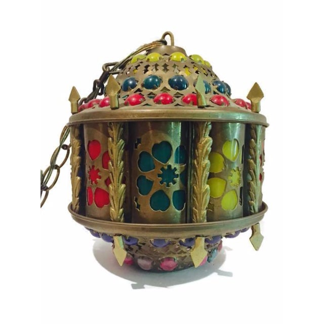 Mid-Century Brass Moroccan Jeweled Swag Light - Image 5 of 7