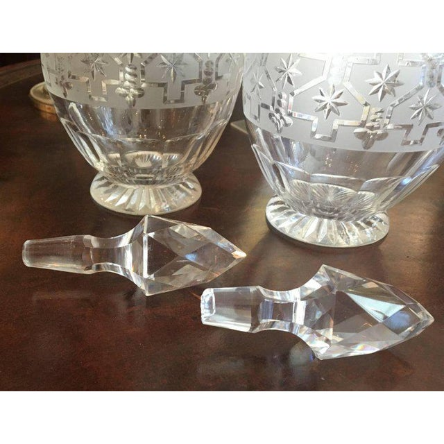 1920s Pair of Etched Glass Decanters For Sale - Image 5 of 6