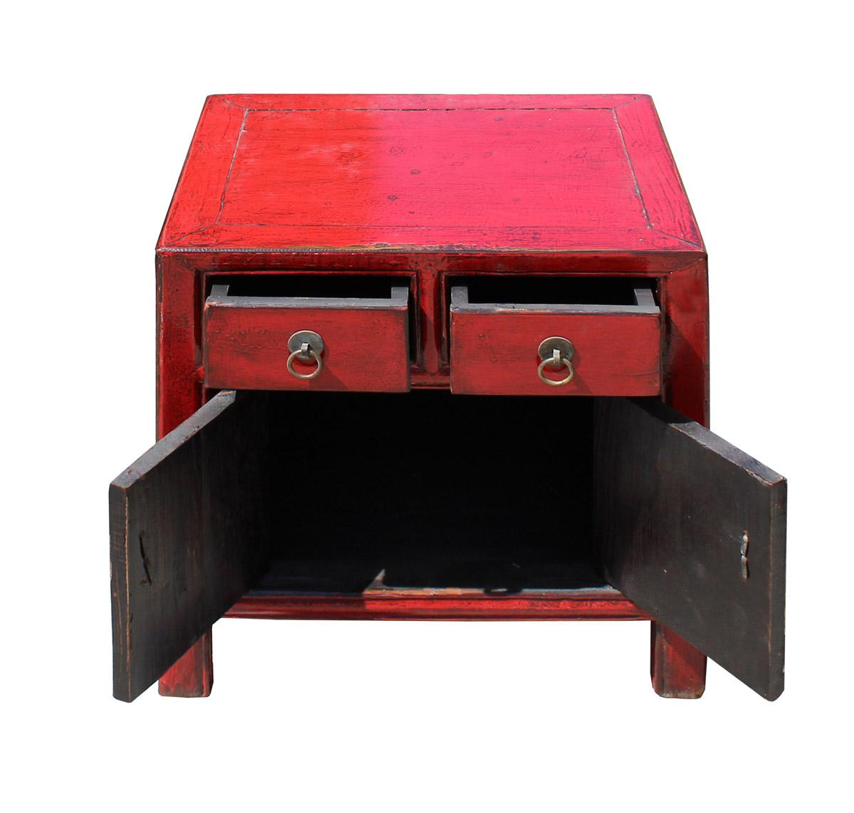 Asian Style Red Lacquer Small End Table Nightstand Chairish