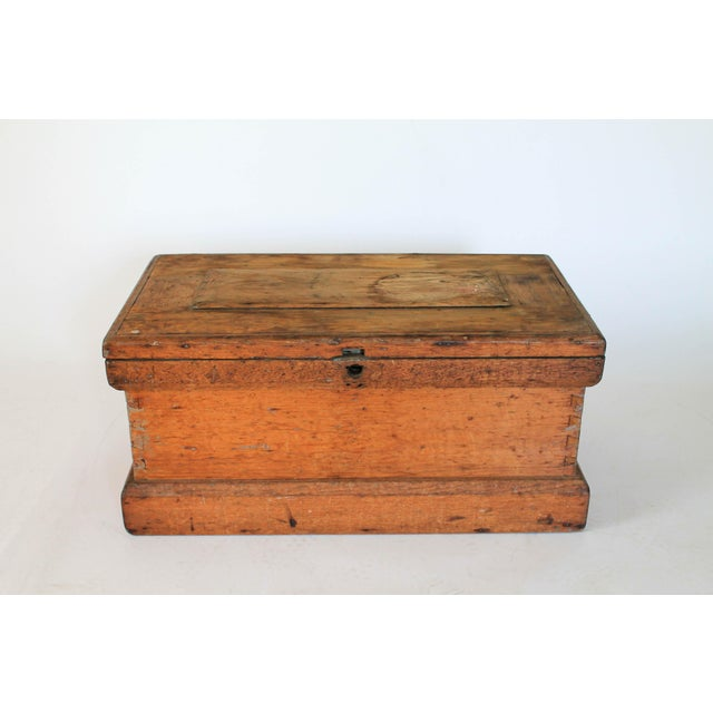 Americana Rustic Wooden Storage Trunk For Sale - Image 3 of 11