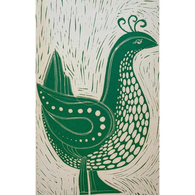Paper Vintage Stylized Bird Lithograph For Sale - Image 7 of 7