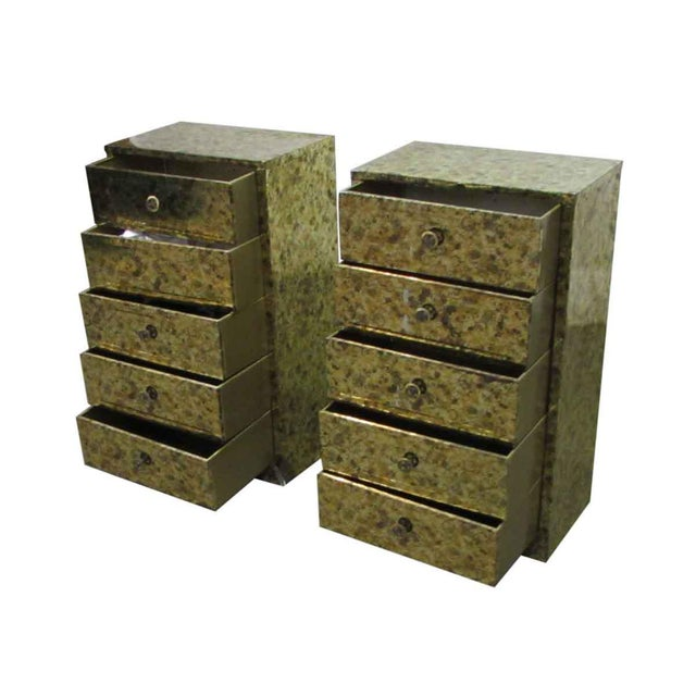 Contemporary Pair of Petite Metal Five Drawer Cabinets For Sale - Image 3 of 8