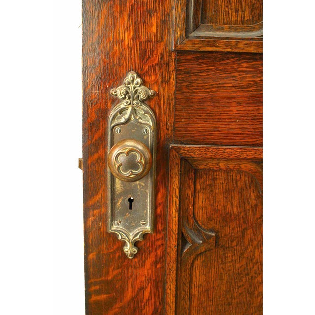 Gothic 19th Century English Gothic Revival Paneled Oak Door For Sale - Image 3 of 5