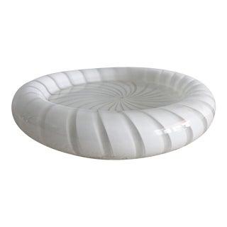 Round Murano White Stripe Dish For Sale