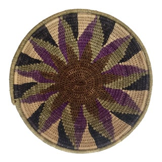 Native American Polychrome Seagrass and Silk Woven Basket For Sale