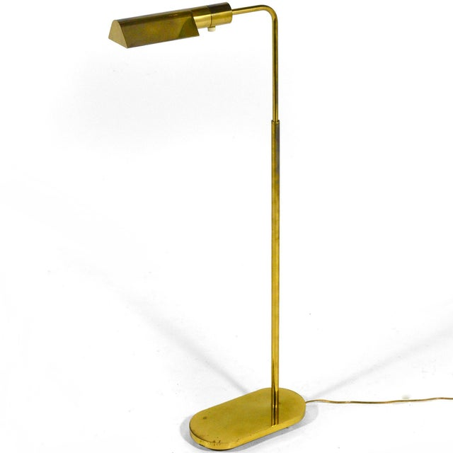 Casella Adjustable Brass Pharmacy Floor Lamp For Sale - Image 11 of 11