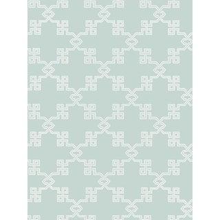 Scalamandre Suzhou Lattice, Aquamarine Wallpaper For Sale