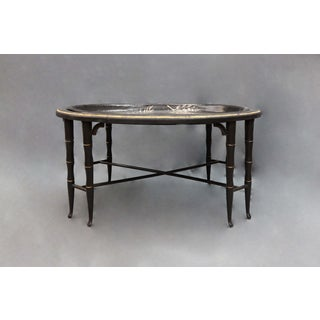 Fern Leave Painted Design Faux Bamboo Legged Tray Table Preview