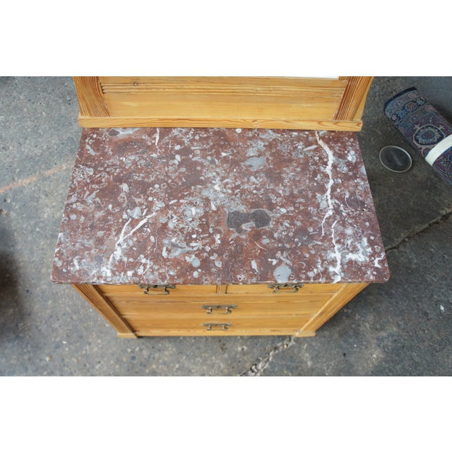 Victorian Antique Pine Marble Top Storage Cabinet For Sale - Image 10 of 13