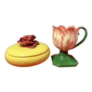 Vintage Capodimonte Style Ceramic Lidded Yellow Bowl With Rose & Tulip Shaped Cup - a Pair For Sale