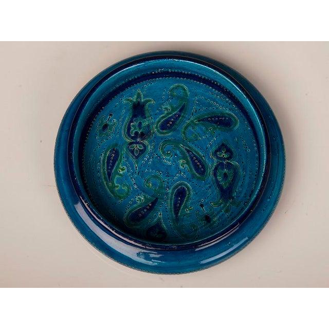 Italian Large Italian Bitossi Turquoise Glazed Patterned Bowl circa 1965 For Sale - Image 3 of 10