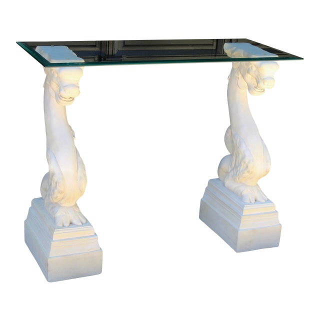 Vintage Hollywood Regency Chinoiserie Asian Dragons Statue Glass Console Table For Sale
