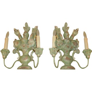 1920s Antique Italian Two Light Carved Wood Sconces - A Pair For Sale