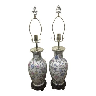 Vintage Porcelain Jardiniere Chinoiserie Lamps - a Pair For Sale