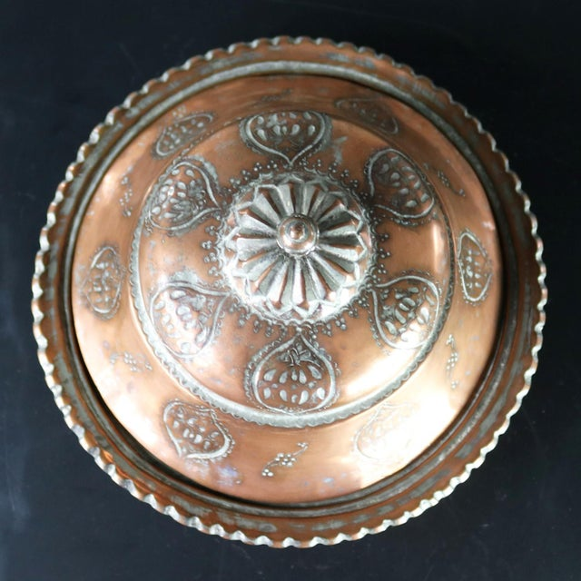 Copper Antique Turkish Ottoman Copper Lidded Bowl Hand Forged Hand Chiseled and Tinned For Sale - Image 8 of 13