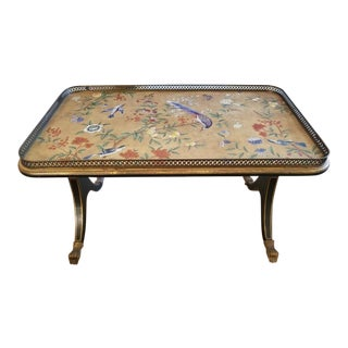Regency Style Birds and Flowers Decorated Tea Table For Sale