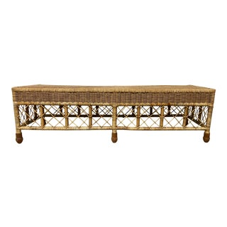 Early 20th Century Antique Wicker Bench For Sale
