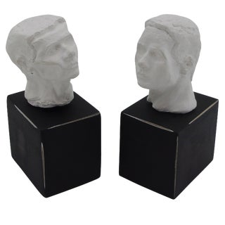 Plaster Sculptural Bookends on Black Bases - Pair For Sale