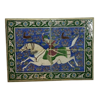 Vintage Hand-Painted Tiles Wall Hanging For Sale
