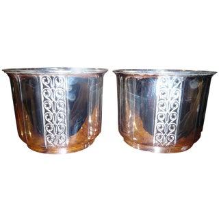 Pair of Art Deco Silver Plate Jardinières For Sale