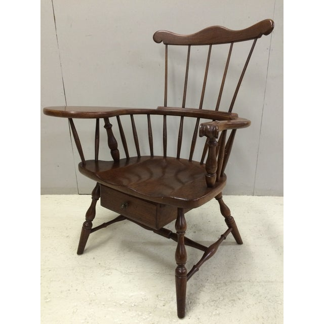 Pennsylvania House Windsor Comb Back Writing Chair with Drawer, Clean Finish, Solid Condition, Single Drawer with Brass...