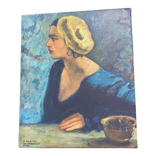 Amrita Sher-Gil's 1931 Framed Self Portrait- Reproduction Print on Canvas #1 For Sale