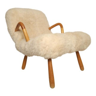 "Philip Arctander ""Clam Chair"" in Lamb Fur For Sale"
