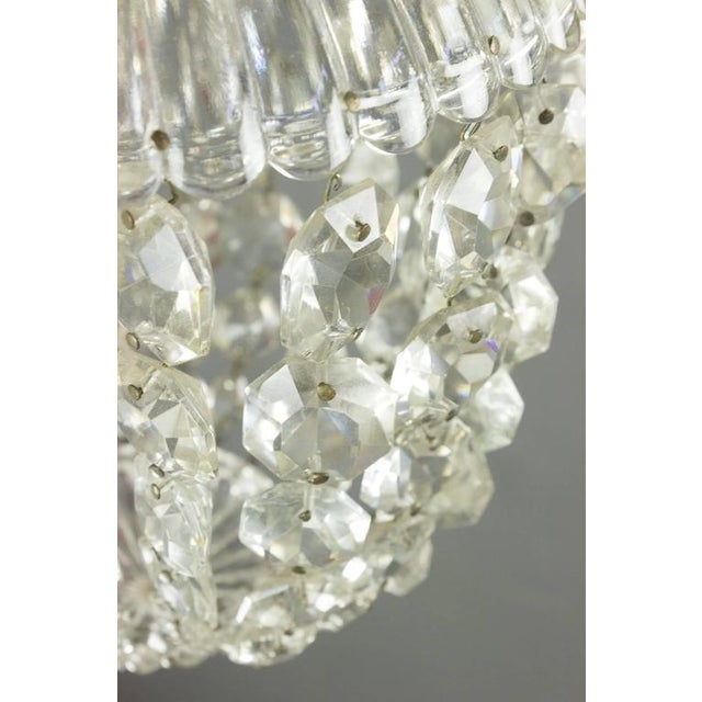1940s French Crystal and Glass Pendant Ceiling Fixture - Image 3 of 11