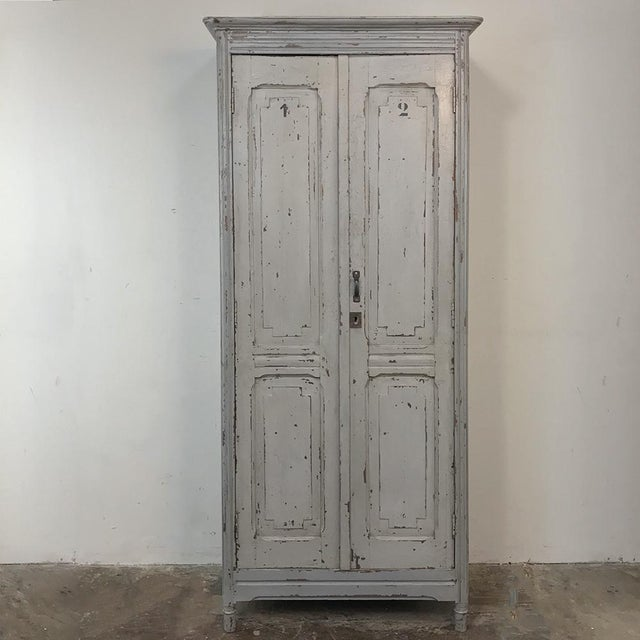 Pair Antique Painted Wooden Locker Cabinets For Sale - Image 4 of 13
