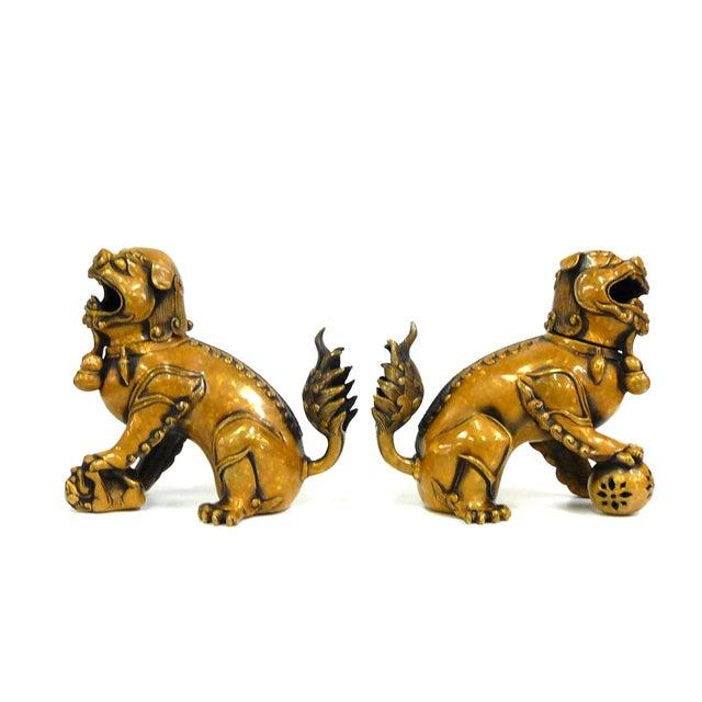 Fengshui Chinese Bronze Metal Foo Dogs - Pair - Image 3 of 6