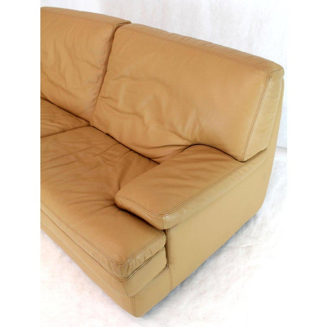 Roche Bobois Light Peach Leather Loveseat Small Sofa For Sale - Image 10 of 11
