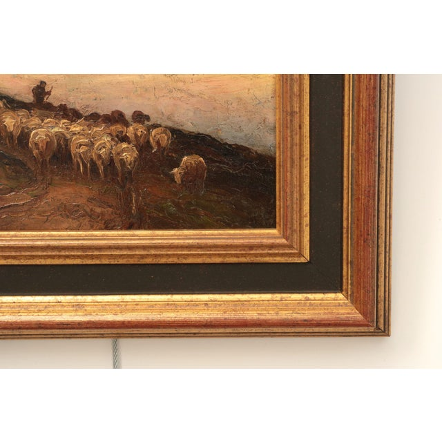 American Barbizon Painting of Sheep at Evening by Francis Wheaton For Sale - Image 9 of 11
