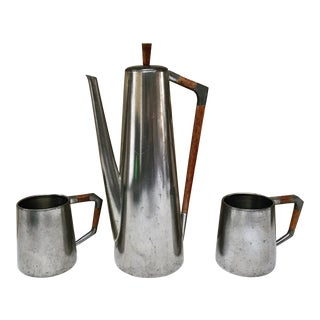 Mid-Century Modern Pewter Coffee Pot & Mugs - Set of 3 For Sale