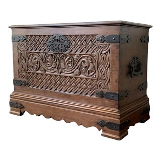 17th Century 17th Century Spanish Baroque Savoy Hand Carved Chest Trunk For Sale