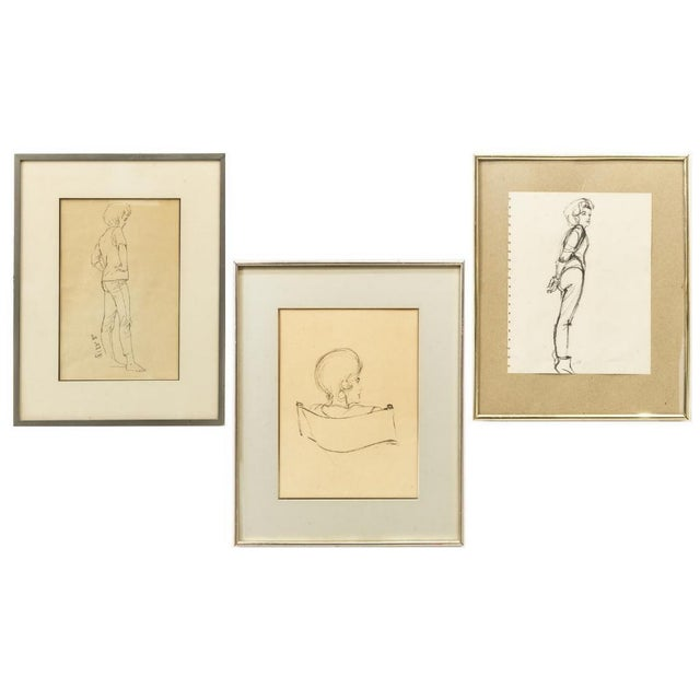 1970s Framed Female Ink Drawing Studies by Ralph E. White - Set of 3 For Sale - Image 13 of 13