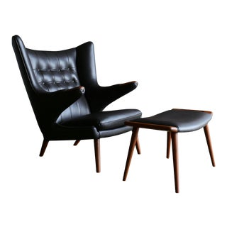 Mid 20th Century Hans J. Wegner Dark Cognac Leather Papa Bear Chair & Ottoman - a Pair For Sale
