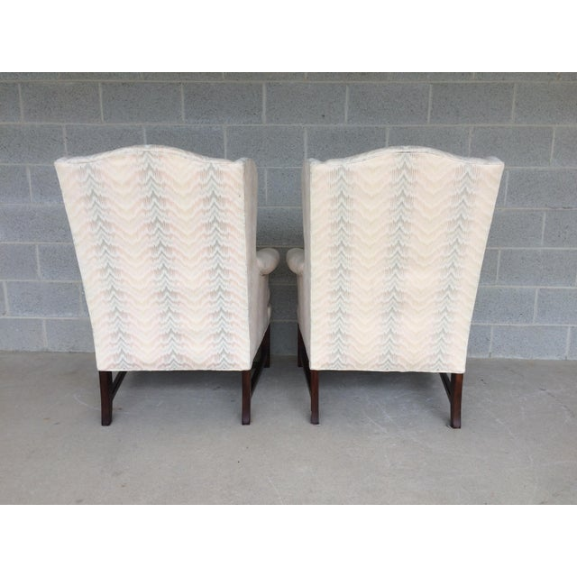Drexel Traditional Classics Chippendale Style Wing Back Chairs - A Pair - Image 7 of 9