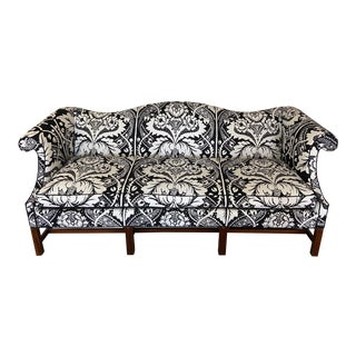 Mid 20th Century Chippendale Style Camel Back Sofa with Vintage Marimekko Fabric For Sale