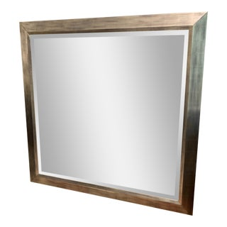 Modern Custom Brushed Gold Frame Wall Mirror For Sale
