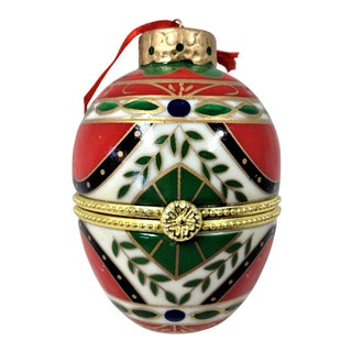 Michael Anthony Christmas Ornament Egg Box With Pendant For Sale