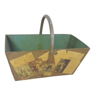 Antique Victorian Postcard Decoupaged Wooden Tote Basket For Sale