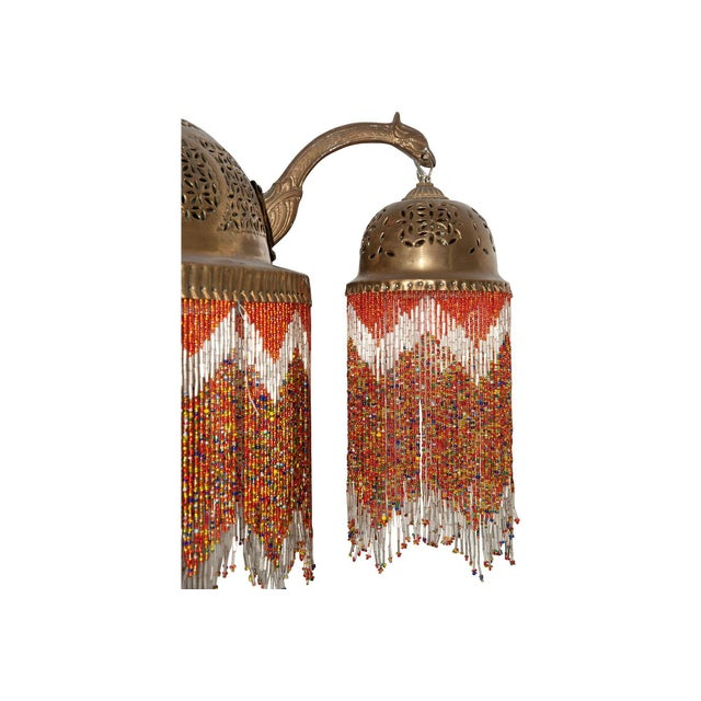 Gold Vintage Moroccan Brass & Beaded Pendant Lamp For Sale - Image 8 of 10