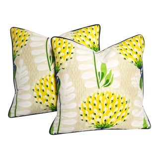 Thibaut Tiverton Yellow Floral Pillows - a Pair For Sale