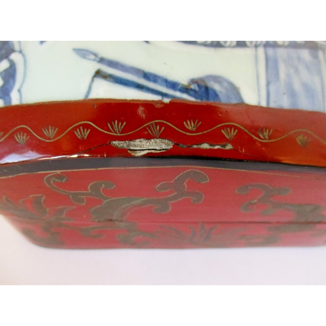 Wood Vintage Chinese Lacquered Box For Sale - Image 7 of 10